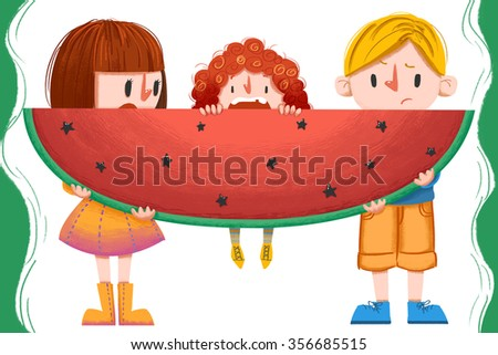 Illustration for Children: Sometime it is not so Easy to be Parents. Be more Understanding about Your Parents. Realistic Fantastic Cartoon Style Artwork Scene, Wallpaper, Story Background, Card Design - stock photo
