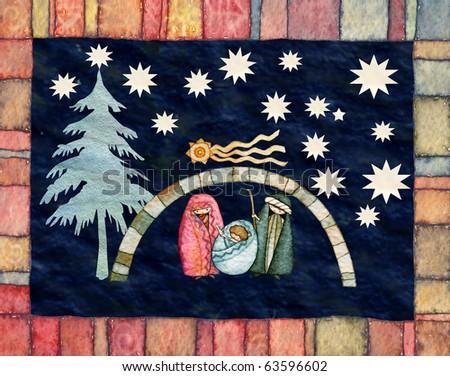illustration for Christmas whit manger end star comet - stock photo