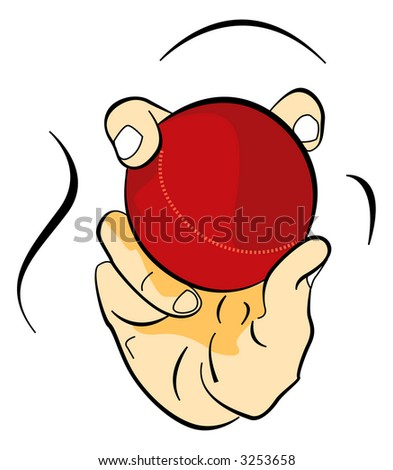illustration for cricket ball in hand - stock photo