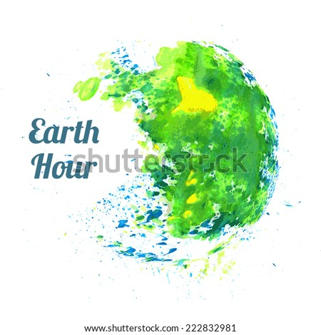 Illustration for Earth Hour annual international event, held in the last Saturday of March - stock photo