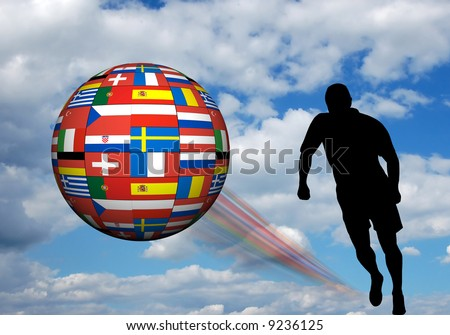 illustration for Euro 2008 soccer championship in Austria and Switzerland - stock photo