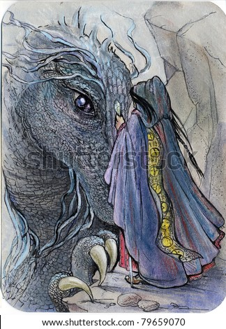 illustration for fantasy fairy tale story: dragon and wizard meeting - stock photo