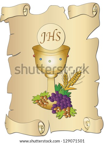 illustration for first communion with chalice - stock photo