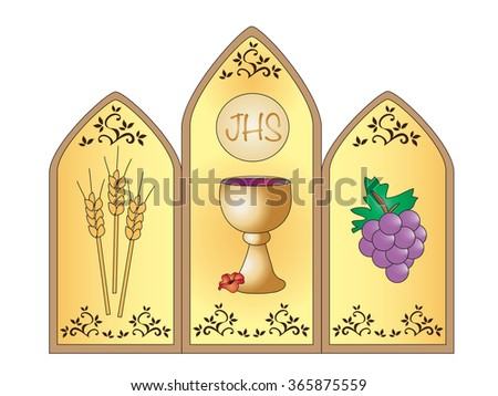 Illustration for first communion with chalice.  - stock photo