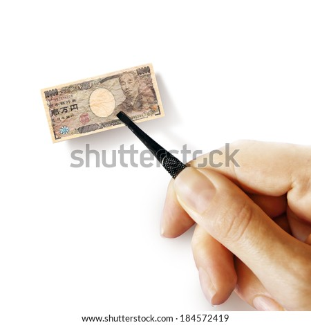 Illustration for inflation - hand with a pincer holding small banknote of Japanese yen, white background - stock photo