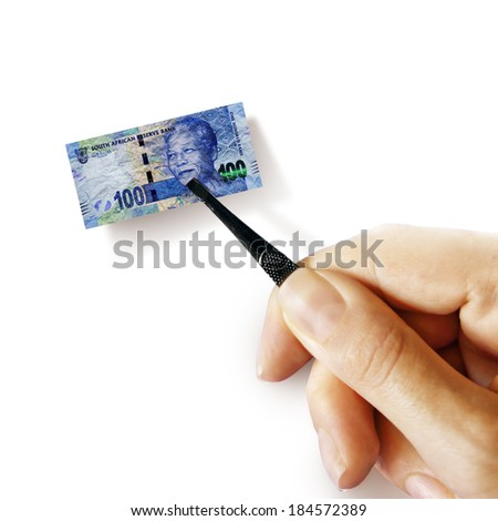 Illustration for inflation - hand with a pincer holding small banknote of RSA rand, white background - stock photo