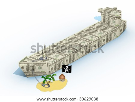 Illustration for news about capture of the trading ship by pirates - stock photo