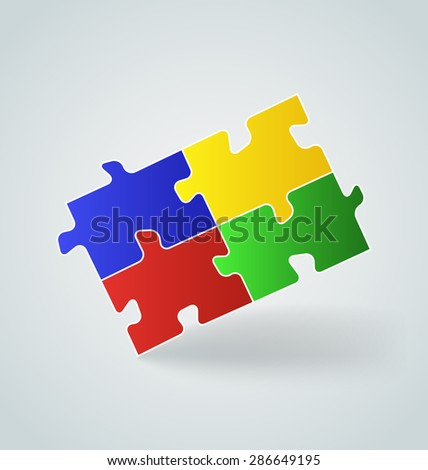 Illustration four colorful puzzle pieces - raster - stock photo