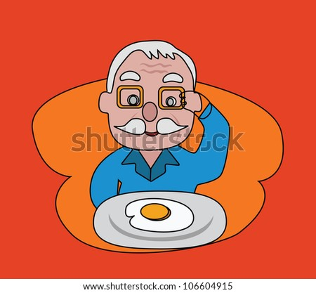 Illustration - Fried egg.The older looking at his food.Menu of today is fried egg. - stock photo