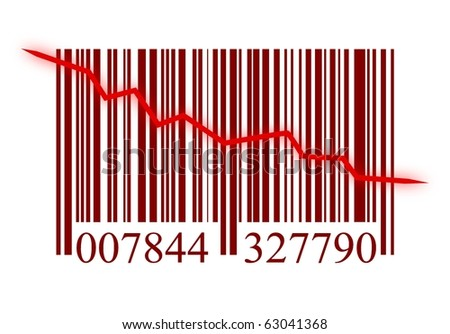 illustration from a bar code with arrow on white background