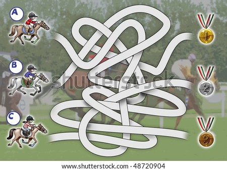 Illustration-game: find out which rider will win gold medal. Funny cartoon style - stock photo