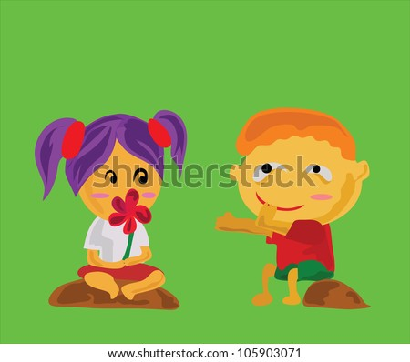 Illustration - Give me please.A boy borrow a flower of a girl that he's lying. - stock photo