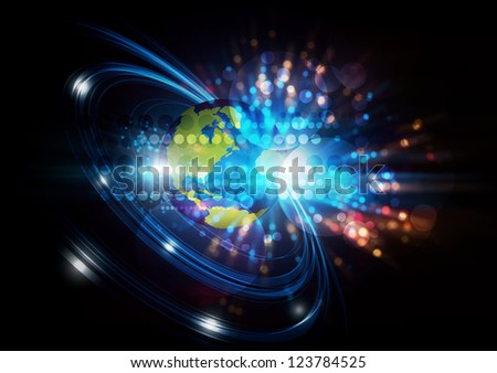 illustration global network digital telecom, abstract background