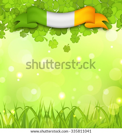 Illustration glowing nature background with shamrocks, grass and Irish flag for St. Patrick's Day - raster - stock photo