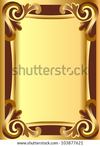 illustration gold(en) background frame with vegetable ornament - stock photo