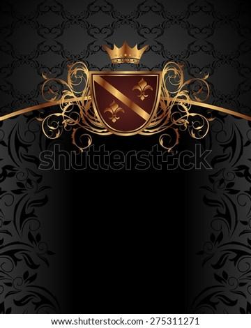 Illustration gold vintage with heraldic elements - raster - stock photo