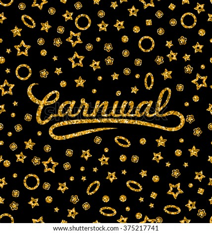 Illustration Golden Glittering Seamless Pattern with Different Geometric Figures for Carnival. Shimmering Continuous Wallpaper, Luxury Background, Disco Party Template - raster - stock photo