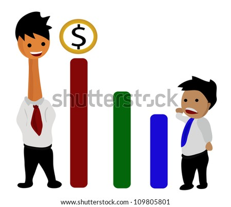 Illustration - Graph of profit on the large business and small business.The different idea will be the winner. - stock photo
