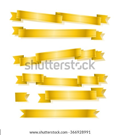 illustration graphic depicting a various golden banner ribbons set over isolated white background - stock photo