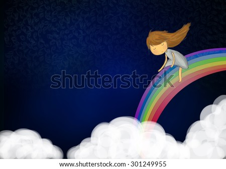 illustration graphic drawing of long hair girl playing slide on colorful rainbow in the dark sky with clouds. Calm, tranquil, peace, peaceful, mystery, fun, cartoon idea concept background wallpaper - stock photo