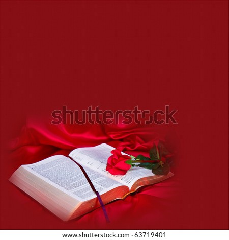 Illustration/graphic/photo of bible with red rose - stock photo