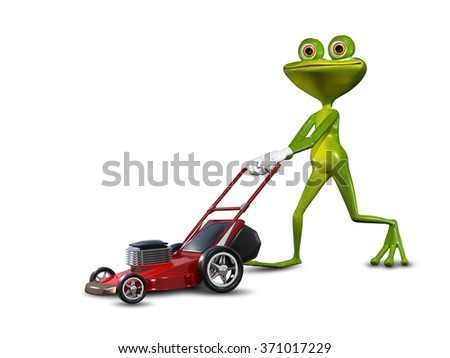Illustration green frog with a lawn mower - stock photo