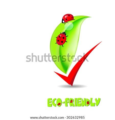 illustration. green leaf with ladybug - stock photo