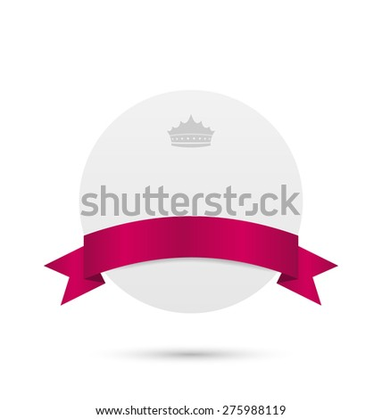 Illustration greeting card with pink ribbon and crown - raster - stock photo
