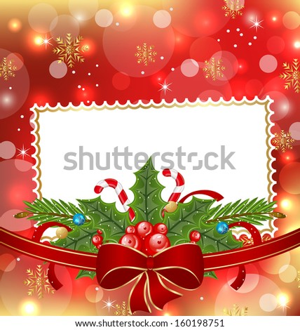 Illustration greeting elegant card with Christmas decoration - raster