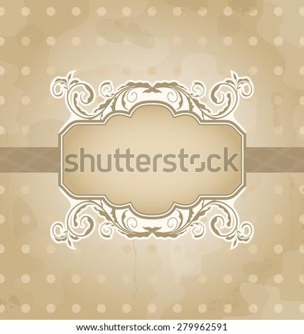 Illustration grunge background with vintage floral label - raster - stock photo