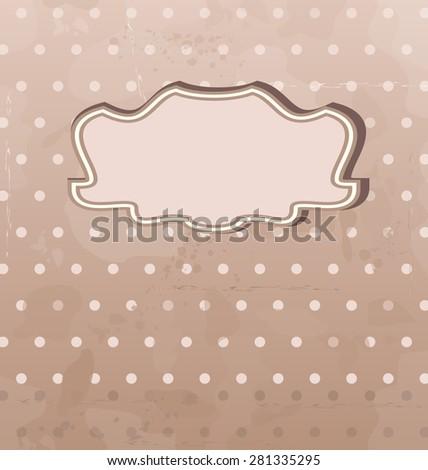 Illustration grunge background with vintage label - raster - stock photo