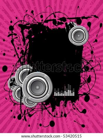 illustration - grunge text frame on pink audio background - stock photo