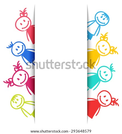 Illustration Hand-drawn Smiling Colorful Girls and Boys, Copy Space for Your Text - raster - stock photo