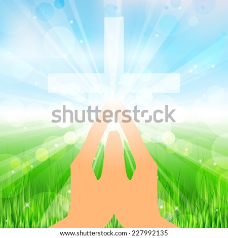 Illustration hands and cross - stock photo
