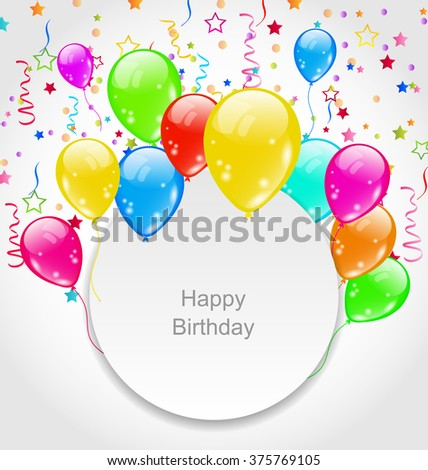 Illustration Happy Birthday Card with Set Balloons and Confetti - raster - stock photo