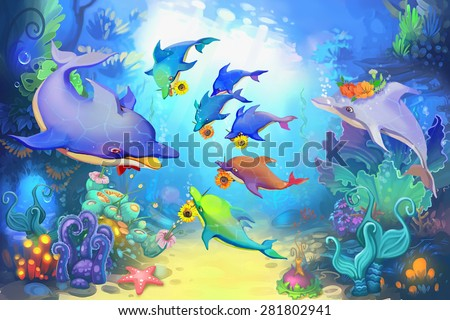 Illustration: Happy father's day in the sea - Dolphin version - Scene Design - Fantastic style - stock photo