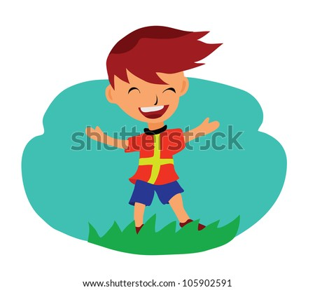 Illustration - Happy.He is blessed with freedom. - stock photo