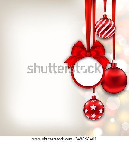 Illustration Happy New Year Background with Celebration Card and Glass Balls - raster - stock photo