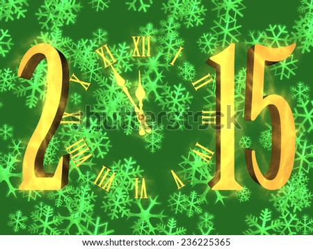 Illustration happy new year 2015 with clock and snowflakes on background - stock photo