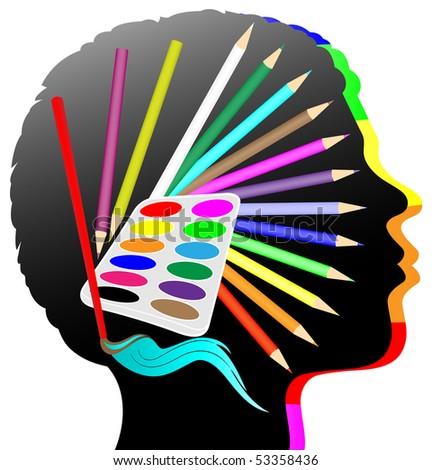 illustration: head with symbol: pencil in many colors, water-color, brush - stock photo