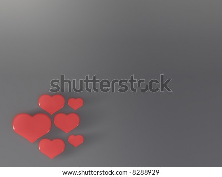 illustration hearts on grey background copy space - stock photo
