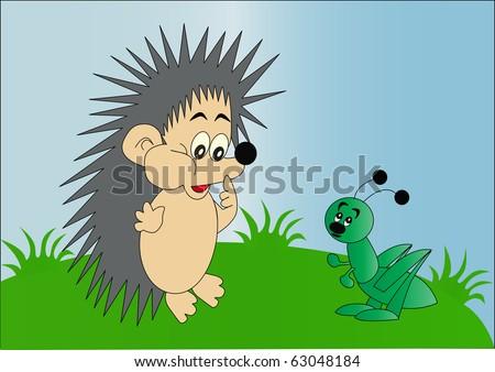 illustration hedgehog and grasshopper on green herb - stock photo
