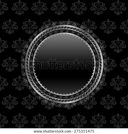 Illustration heraldic circle shield on floral background - raster - stock photo