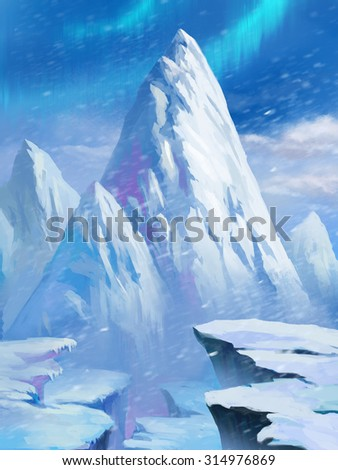 Illustration: Ice Mountain in the North Pole. With Aurora. It was snowing. Fantastic Cartoon Style Scene Wallpaper Background Design.
