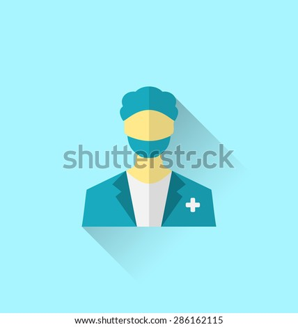 Illustration icon of medical doctor with shadow in modern flat design style - raster - stock photo