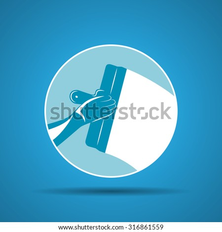 illustration icon of trowel with hand plastering cement mortar in the wall - stock photo