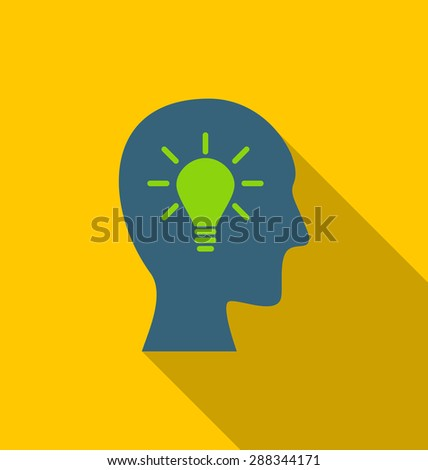 Illustration icon process of generating ideas to solve problems, birth of the brilliant ideas - raster - stock photo