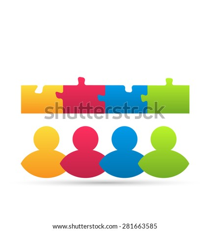Illustration icon team of business people with jigsaw puzzle pieces as a solution to a problem - raster - stock photo