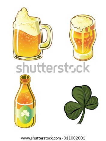 Illustration Icons beers and clover - stock photo