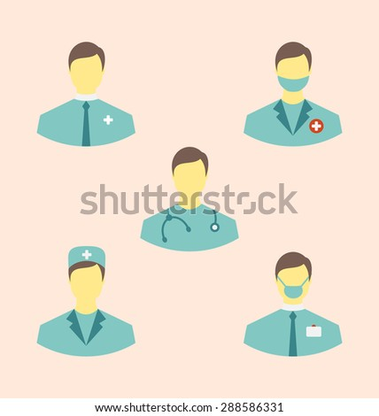 Illustration icons set of medical employees in modern flat design style - raster